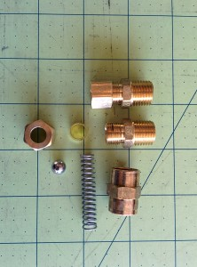 Here are the parts of the DIY check valve.